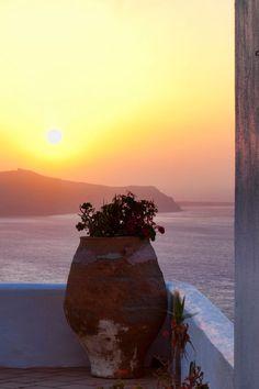 Sunset in Fira, Santorini Greece