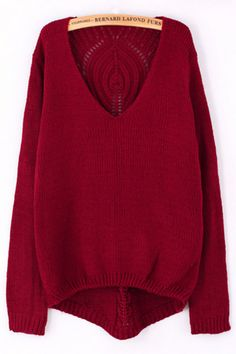 V Neck Cutout Back Sweater - OASAP.com