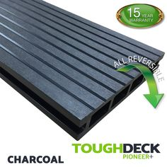 Charcoal Wood Grain WPC Decking Board - Pioneer+ Wpc Decking, Composite Decking, Pioneer Decks, Wood Grain Texture, One Sided, Charcoal, Grains, Surface, Boards