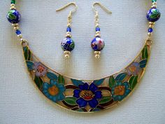 Unique Necklace with Blue and Aqua Cloisonne  Floral Bib Pendant.  Hand Beaded with Round Cloisonne Beads and Smooth Gold Plated Accent Beads by #JewelrybyIshi, $95.00