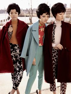 """""""Baby Love"""" Style Editorial in V Magazine.Chinese models Ju Xiao Wen and Wang Xiao, with Japanese model Rila Fukushima, channel The Supremes, in the August 2011 issue of V Magazine. photography by Josh Olins and styled by Jay Massacret. Foto Fashion, 1960s Fashion, Fashion Moda, Asian Fashion, Vintage Fashion, Fashion Hair, Japanese Fashion, Vintage Style, High Fashion"""