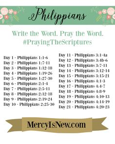 Philippians Write The Word FREE PRINTABLE SCHEDULE