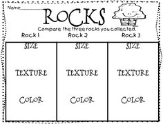 While this sheet is made for first grade, I think this can be utilized in a second grade class as well. One of the TEKS we have added in the unit is comparing rocks. Primary Science, Kindergarten Science, Science Classroom, Teaching Science, Science Education, First Grade Worksheets, Science Worksheets, Science Lessons, Science Activities