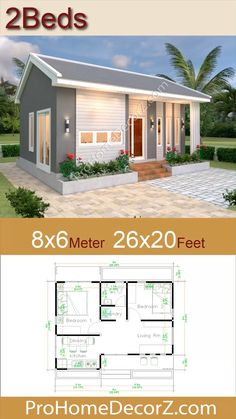 Simple House Design, Minimalist House Design, Minimalist Home, My House Plans, Small House Plans, House Floor Plans, Garden Living, Villa Plan, Small Cottages