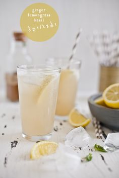 GINGER LEMONGRASS BASIL SPRITZER:       SYRUP:     1 cup water     1 cup brown sugar     1/2 cup freshly grated ginger     2 stalks lemon grass, finely chopped     10 fresh basil leaves. -      SPRITZER:      Lemon wedges     Sparkling water     ice cubes