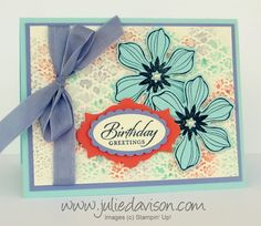 Stampin' Up! Beautiful Bunch with Spritzed Embossing Folder Background #stampinup www.juliedavison.com
