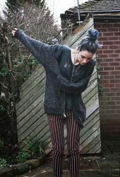 Striped Burgundy Pants, Ripped Charcoal Tee, Charcoal Cardigan... Sunday Grunge