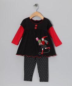 Take a look at this Black Christmas Layered Tunic & Leggings - Infant & Girls by Good Lad on #zulily today!