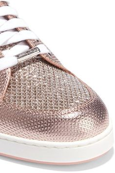 Jimmy Choo - Miami Glittered Mesh And Embossed Leather Sneakers - Pink - IT39.5