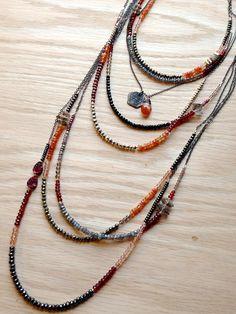 ∆∆∇∇ elementality | unique jewelry + clothing + art | necklaces - tiny gemstone layering - hush