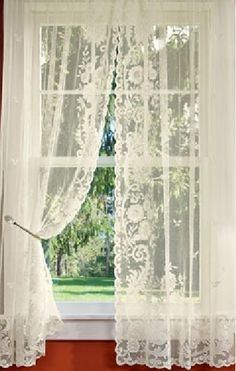 Lace curtains all through the house! Mom was Irish and loved her lace curtains. We had Pricilla curtains in the living room♥ Country Curtains, Curtains With Blinds, Kitchen Curtains, Drapes Curtains, Bedroom Curtains, Lace Bedroom, Elegant Curtains, Rustic Curtains, Curtains Living