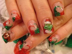 The Grinch xmas nails. So cool