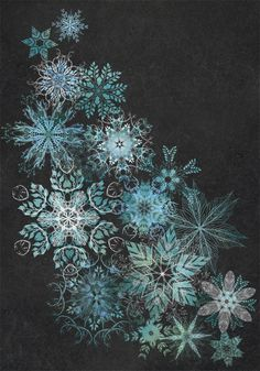 fleck-tesseract:  the mountain drift  Inspired by fragments of woodlands and nature, these hand drawn snowflakes are comprised of complex mixtures of leaves, berries, feathers and antlers.