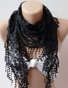 Black   lace and Elegance Shawl / Scarf  with Lace Edge by womann, $19.00
