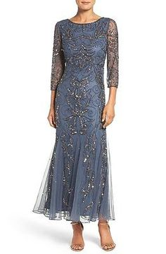 New PISARRO NIGHTS Embellished Mesh Mermaid Dress Gown Slate Blue Gray 14