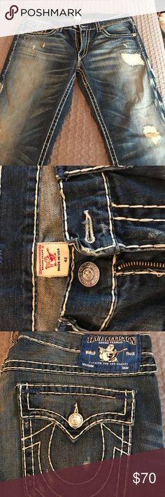 True Religion blue label jeans Rare blue label. Made in the USA. NWOT. Naturally deconstructed. True Religion Jeans Straight