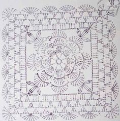Big Crochet Square with Flower Free pattern. More Great Patterns Like This