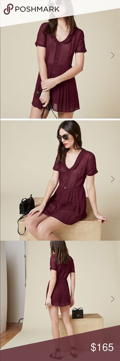 New! Reformation Pali Dress Carmine Romper sheer You're cute, click me. This is a mini length, relaxed fitting dress with a rounded collar. - Attached shorts liner- Button front- Collared- Mini length New with tags! Just wrinkled from storage. Reformation Pants Jumpsuits & Rompers
