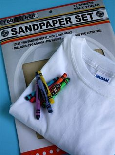 Draw on sandpaper with crayon, turn upside down, iron onto T-shirt. how proud will kids be to wear their original art designs! i-can-do-it-all-by-myself