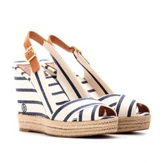 mytheresa.com - Tory Burch - BELLER STRIPED SLING-BACK WEDGES - Luxury Fashion for Women / Designer clothing, shoes, bags