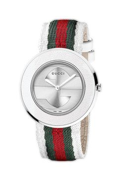 I want this sooooooo bad!!!!!  Gucci 'U-Play' Round Fabric Strap Watch available at Nordstrom