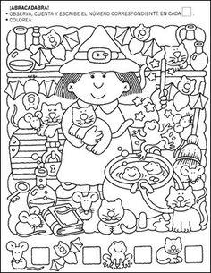 Trabajar con nmeros primer grado School Worksheets, Worksheets For Kids, Halloween Worksheets, Halloween Activities, Preschool Activities, Halloween Fun, Hidden Pictures, Kids Learning, Teaching Kids