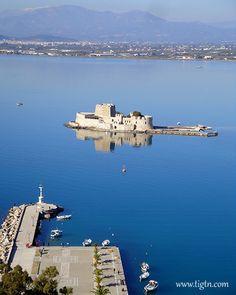 #Bourtzi, #Nafplio's famous Venetian fortress guarding the entrance to the port. #Peloponnese - #Greece