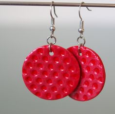 Puntíky rudé Fimo korálek o průměru 2,8 cm. Sada s náhrdelníkem a prstýnkem. - polymer by teruberu