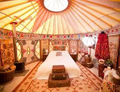 Sickest yurt interior I've ever seen! Amazing!