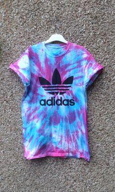 Unique tie dye adidas tshirt hipster grunge festival