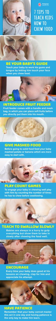 Teach your baby to work his gums and tongue by letting him touch your face when you chew food. #baby #food #parenting #child #intoducing #food #weaning