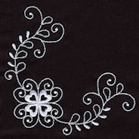 Floral Corners 1-02 - White on Black