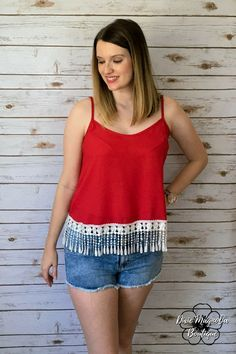 Friday Night Lights Top: Red/White