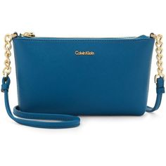 Calvin Klein Hayden Chain Mini Crossbody ($98) ❤ liked on Polyvore featuring bags, handbags, shoulder bags, cypress, blue crossbody, blue purse, cross-body handbag, mini handbags and blue crossbody purse
