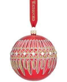 Waterford Holiday Heirloom Lismore Diamond Red Ball Ornament