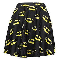 QZUnique Women's Batman Vintage Floral Digital Pleated Flared Midi Skirt at Amazon Women's Clothing store: