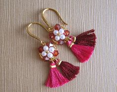 Boho bridesmaid earrings Pink beaded tassel earrings Gift