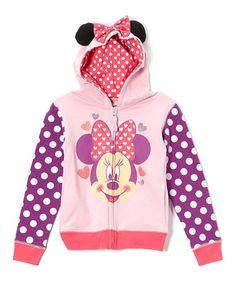 Another great find on #zulily! Pink & Purple Minnie Zip-Up Hoodie - Toddler & Girls #zulilyfinds