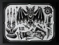traditional tattoo board black and white
