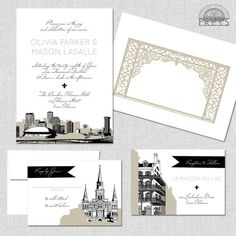 New Orleans Wedding Invitation   By South City Press