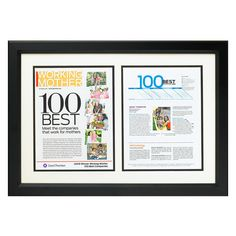 Benjamin Martin Corp from Dedham MA USA Custom Frame: Style Z. Black Satin frame with wide border features double beveled gallery matting to hold x magazine pages. Made in the USA. Magazine Display, Wall Of Fame, Newspaper Design, Business Articles, Frame Display, Working Mother, Magazine Articles, Create Space, Office Art