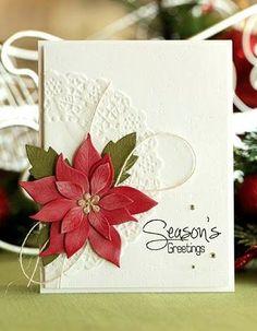 Card christmas poinsettia A classic Christmas card - Northridge Publishing Christmas Card Crafts, Christmas Cards To Make, Xmas Cards, Christmas Greetings, Handmade Christmas, Holiday Cards, Poinsettia Cards, Christmas Poinsettia, Stampin Up