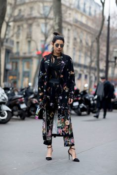 Floral Dress | Strappy Heels | Street Style | Fashion Week