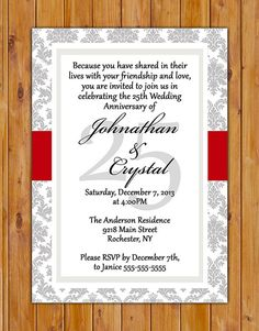 25th Wedding Anniversary Invitation Red and Grey by scadesigns, $16.00