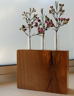 handmade reclaimed wood vase