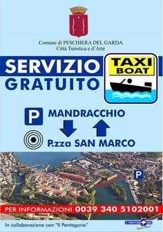 Taxi Boat gratuito dal parcheggio Mandracchio al centro di Peschiera del Garda @gardaconcierge