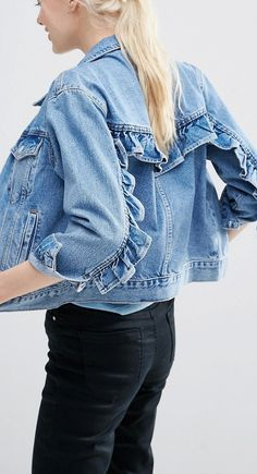 ASOS Denim Western Jacket in Mid Stone-wash Blue with Frill Detail at  asos.com e881a69b6c4f