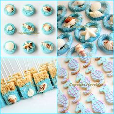 Elegant & delicious Seashell & Sand Dollar topped Chocolate dipped Pretzels! Great for a Beach Wedding, an Under the Sea or Mermaid themed