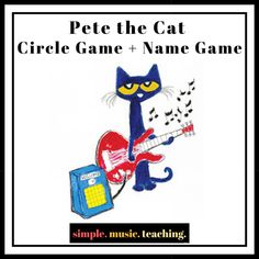 """One of my back-to-school lessons for Pre-K, Kinder and graders is a circle game+name game that corresponds with """"Pete the Cat-I Love My White Shoes. Kindergarten Name Games, Kindergarten Circle Time, Preschool Music, Kindergarten First Day, Music Activities, Teaching Music, Homeschool Kindergarten, Music Games, Music Classroom"""