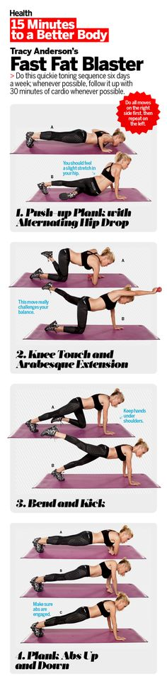 Tracy Anderson, Health's star trainer, reveals the four high-intensity fitness moves that give you the biggest bang for your workout minutes. Beat holiday weight gain come Jan. 1 if you are steady with this efficient exercise routine. No time to get to the gym? Try this circuit-training workout, by doing strength exercises that you cycle through quickly, you'll get the most out of a short amount of time and keep your body toned and slim. | Health.com